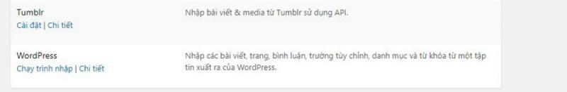 Xuất Nhập dữ liệu trong WordPress